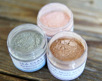 All Natural Clay Mask - Dry Clay Mask - Face Mask - Rose Clay - Bentonite Clay - Clay Mask Set - Facial Mask