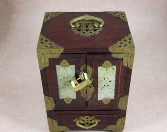 Chinese Wood Jewelry Box with Carved Jade Inlay, Brass Pulls and Accents, Green Silk lining, Key and Lock,  circa 1920s