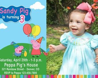 Peppa Pig Birthday Party Invitation with Photo