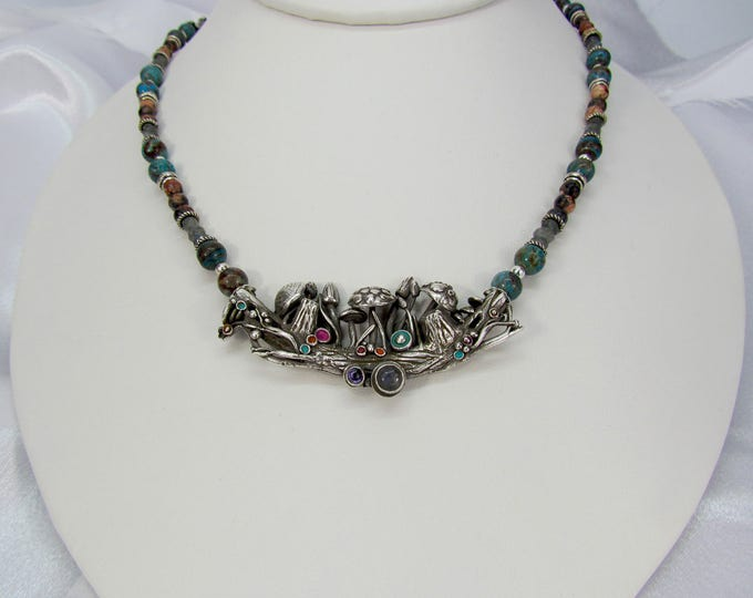 """Featured listing image: Item 5105-1 """"Mushroom Garden Party"""" Limited Edition Necklace Fine and Sterling Silver Blue Sky Jasper, Picture Jasper, Labradorite"""