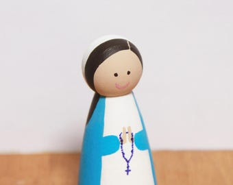 Mary statue / Saint peg doll / Catholic / Wooden toy / Our Lady