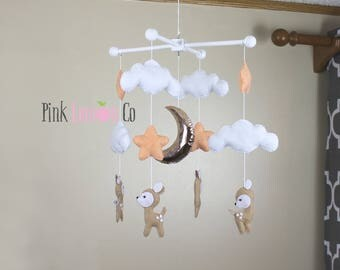 baby mobile-deer baby mobile-woodland baby mobile-mountains baby mobile-rose gold