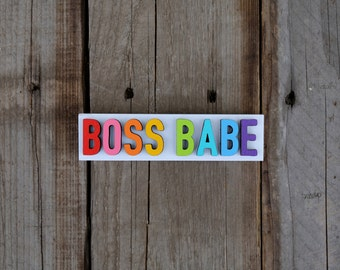 BOSS BABE / wood sign / 6 x 1.40 / home decor / painted sign / laser cut / desk decor / wood / sign / Inspirational Sign