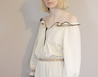 Vintage Cream and Brown Peasant Midi Dress 70s - Small/Medium