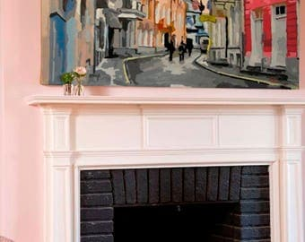 Abstract Oil Painting Wall Art Original Painting Abstract Painting City Painting