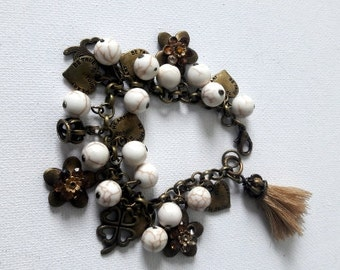Boho hearts charms bracelet Romantic copper charms and white turquoise beads bracelet