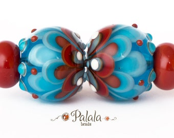 Pair of blue and red Lampwork Glass Beads for earrings