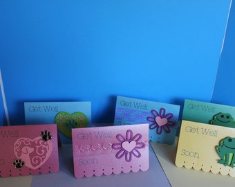 Get Well Soon Note Cards with Various Themes Set of 6