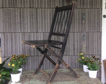 Vintage Painted Wood Folding Chair with Metal Seat