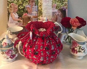 red cats teapot cozy, red, cats, pets lover, gift, birthday gift