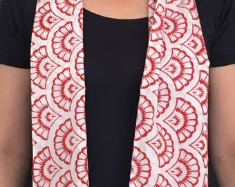Red Block Print Cotton Scarf