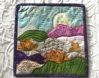 Landscape quilt, batik quilt, mixed media, wall hanging, fabric artwork, patchwork quilt, fiber art, applique quilt, embellishment, quilting