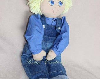 Fabric doll, handmade cloth doll, soft doll, gift doll, rag doll, custom-made doll