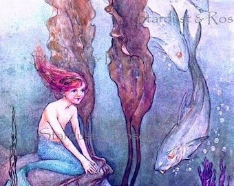 ANTIQUE Mermaid ArT PrinT - INSTANT DIGITAL Download - Vintage Victorian Illustration Frameable Junk Journal Altered Art  To Frame no3566