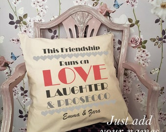 Personalised Cushion For Prosecco Lovers!