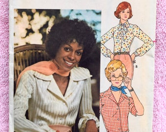Vintage 1970s Womens Shirt Blouse Pattern / Wide Collar Blouse / Dress Shirt, Country Western / Butterick 5727 Womens Sewing Pattern