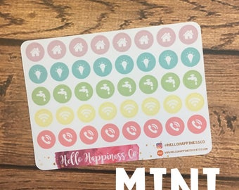 MINI Utility Bill Icon Stickers - Meal Planning Stickers - Planner Stickers - Functional Stickers