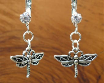 Silver Dragonfly earrings with Rhinestone French lever back hooks. Gift bagged & tagged. Glow in the dark fairy tag with gift pouch.