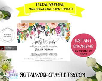Miss to Mrs Bridal Shower Invitation Template, Editable DIY Watercolor Floral Invite Printable, Mr and Mrs, Instant Download PDF Template