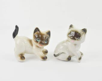 Vintage 1950s Siamese Kitten Cats Ceramic Figurines