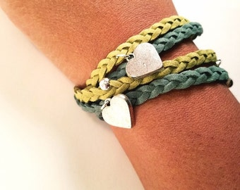 Silver Heart Charm Juniper and Olive Green Double Braided Leather Wrap Bracelet