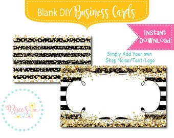 Black Stripes and Gold Glitter Business Card design Blank Instant download DIY template