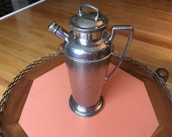 Mid Century Modern Silver plated Hammered/hand made Coffee/tea server with cork lid stopper/marked