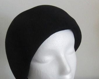Women's Black Wool Cloche Hat