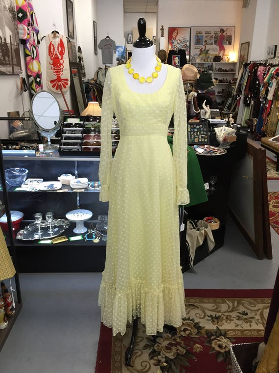 Lovely Vintage 1970s Yellow Maxi Dress with White Velvet Polka Dots