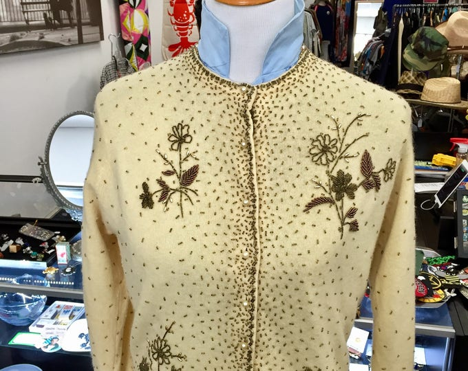 Vintage 1950s Embroidered Cashmere Cardigan