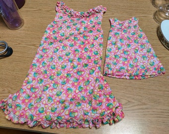 Pink Snails Matching Girls and Doll Dress