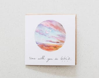 Time with you is GOLD - blank watercolour greeting card - recycled, 125mm square - with kraft envelope
