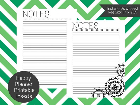 Happy Planner Notes Printable Inserts Create 365