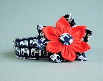 Elephant girly dog collar with flower, Female small, medium, large, Cute for puppy, Fancy Fall accessory for women dog, Trendy pet gift
