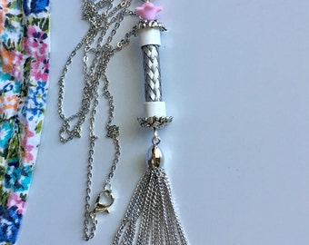 Silver Tassel Necklace/ with pink vintage beads/ boho chic/long chain/TVCableJewelrybyML/handmade with care/unique necklace for women