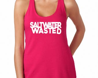 Salt Water Wasted Tank, Beach Tank, Summer Tank, Ladies Tank, Pink Tank, Custom Tank