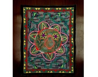 Handmade Shipibo Conibo Fully Embroidered Sacred Visionary Tapestry Mandala Prayer Ceremonial Cloth