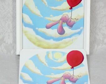 "Postcard ""little flying bunny"""