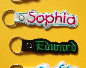 personalised embroidered name key ring/tag/fob