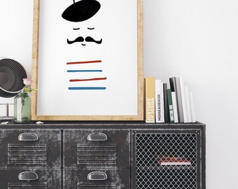 Frenchman Print, French Print, French Printable, French Home Decor, Nursery Decor, French Poster, Nursery Printable , Instant Download