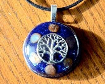 Orgone Pendant Necklace Tree of Life Blue Gemstone Crystal Healing Energy Jewelry EMF Protection