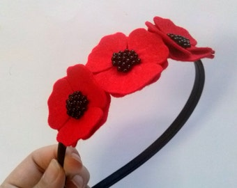 Red poppy flower headband, Felt flower headband, Felt Adult Headband, Red headband, Women hair accessory, Hairband for women, hairband