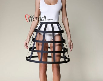 Basic Black Modern Cage Skirt Hoop Skirt Steampunk