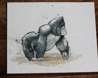 Limited Edition art print – Gorilla, watercolour
