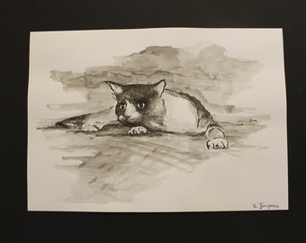 Cat ink drawing, black and white cat drawing, watercolour ink art, cat art