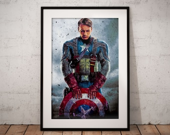 Captain America Painting Print, Captain America Print, Super Hero Wall Art, Avengers Decor