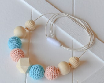 Natural Wooden Baby Teether - Teething Necklace / Nursing Necklace - Blue and Peach - New Mother Gift Baby Shower