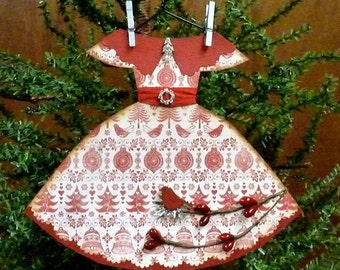 Paper Dress Ornament, Handmade Ornament, Handmade Christmas Ornament, Handmade Paper Dress, Dress Ornament, Vintage Inspired Christmas