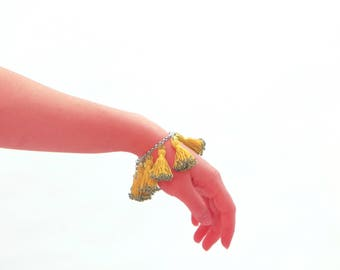 Handmade Tassel Bracelet With Sparkling On Ends