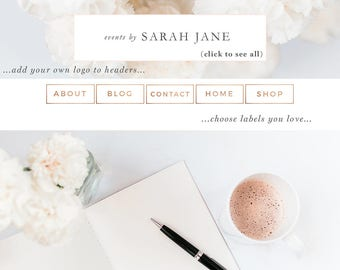 Website Branding Kit, Floral Pink Peach Rose Gold Theme, Blogger Design, Wordpress Blog Header, Social Media Icon, Buttons, Labels, Borders
